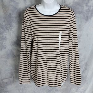 NWT Croft & Barrow black/tan long sleeve top